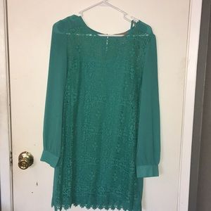 Dresses & Skirts - Teal long sleeve lace dress size large